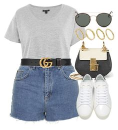 """""""Sin título #13050"""" by vany-alvarado ❤ liked on Polyvore featuring Topshop, Gucci, Chloé, Yves Saint Laurent, Ray-Ban and Made"""