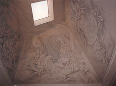 This Skylight Painting was Supported by columns over a marble Clad Tub. The 32 figures were done from an Extension Ladder in the tub by Jim Evinczik