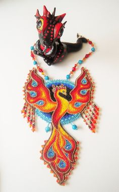 Worbla dragon & bead embroidery necklace by Priscillascreations.deviantart.com on @DeviantArt