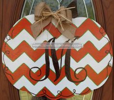 Monogrammed Chevron Pumpkin Fall Door Hanger by SparkledWhimsy, $40.00