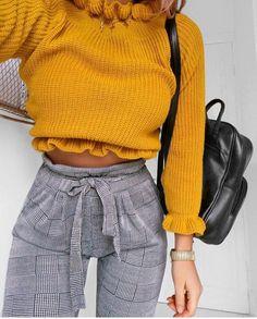 #fall #outfits yellow short sweater plaid grey pants bagpack