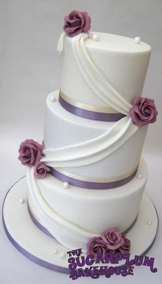 White & Lilac 3 Tier Wedding Cake - Drapes & Roses  ivory, elegant, purple, sharp edges, corners, classy, simple