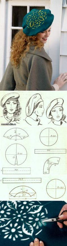 instructions on making a true french beret including the fact they are in french however my rusty french has gotten an upgrade this past year sewing is far easier than knitting to translate directions - PIPicStats Sewing Hacks, Sewing Tutorials, Sewing Crafts, Sewing Projects, Fabric Crafts, Sewing Clothes, Diy Clothes, Clothing Patterns, Sewing Patterns