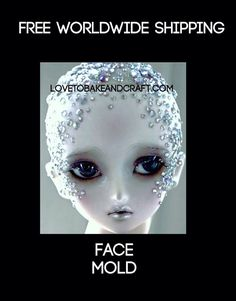 Fondant face, Gumpaste face, Sugarpaste face mold, x 8 Free Worldwide Shipping Polymer Clay Cake, Polymer Clay Fairy, Polymer Clay Figures, Polymer Clay Dolls, Elf Face, Face Face, Fondant Face Tutorial, Baby Mold, Clay Fairies