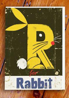 Creative Illustration, Graphic, Paul, Thurlby, and Alphabet image ideas & inspiration on Designspiration Lapin Art, Alphabet Book, Alphabet Party, Alphabet Print, Alphabet Letters, Bunny Art, Bunny Bunny, Rabbit Art, Art Et Illustration