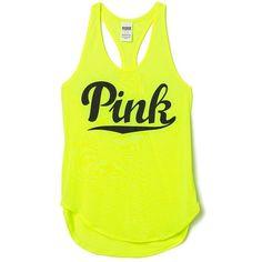 a33b3c4e713fde Victoria s Secret PINK Racerback Tank Neon Lemon at Amazon Women s... ( 40)