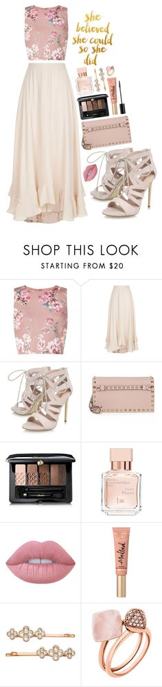 """""""powerful pink~ breast cancer awareness month ~ marina"""" by tips-icons-4life ❤ liked on Polyvore featuring Miss Selfridge, Chloé, Carvela, Valentino, Guerlain, Christian Dior, Maison Francis Kurkdjian, Lime Crime, Too Faced Cosmetics and Henri Bendel"""
