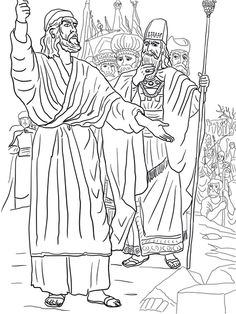 Elijah, Ahab and Prophets of Baal on Mount Carmel Coloring page