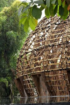 Bamboo Dome cafe wNw By Vo Trong Nghia – 04 Bamboo Architecture, Vernacular Architecture, Sustainable Architecture, Contemporary Architecture, Architecture Design, Residential Architecture, Bamboo Bamboo, Bamboo House, Bamboo Building
