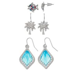 Mudd Fish, Palm Tree & Marquise Stud & Drop Earring Set