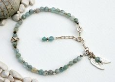 Angel Wing Bracelet Semi Precious Aquamarine Faceted beads,Sterling Silver Chain, Nugget bead and Delicate Angel Wings Sterling Silver