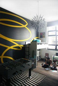 Interior designer Athena Calderone created this bedroom for her son.
