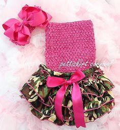Hot Pink Heart Bloomer wif Hot Pink Rose Crochet Tube Top Headband 3PC Set NB-2Y
