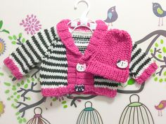 Hand Knitted Premature, Newborn Baby Girl Black White Stripes Pink Cardigan Top Beanie Hat Set, Australian Pure New Wool, Cat Buttons by KnittedAsOne on Etsy https://www.etsy.com/listing/243498291/hand-knitted-premature-newborn-baby-girl