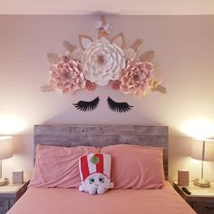 66 Lovely Pink Bedroom Design Ideas For Your Teen Girl - dougryanhomes Unicorn Bedroom Decor, Unicorn Rooms, Unicorn Wall, Unicorn Decor, Pink Bedroom Design, Girl Bedroom Designs, Girls Bedroom, Girls Flower Bedroom, Romantic Bedroom Decor