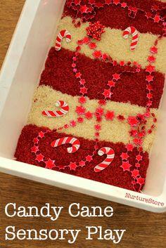 Candy cane sensory play for christmas :: Christmas sensory tub
