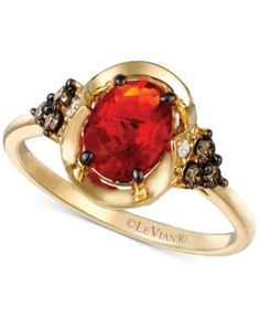 Le Vian Chocolatier® Fire Opal (5/8 ct. t.w.) and Diamond (1/5 ct. t.w.) Ring in 14k Gold