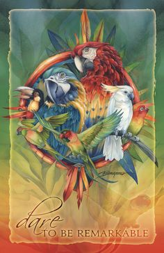 Bergsma Gallery Press :: Products :: Posters :: Birds :: Parrots / Celebrate Life's Many Colors - 11 x 17 in Poster