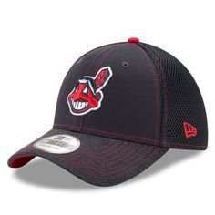 Men s Cleveland Indians New Era Navy Shadow Burst 39THIRTY Flex Hat b4855ce1b5b