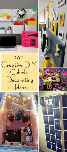 Creative DIY Cubicle Decorating Ideas! Cute Cubicle, Work Cubicle Decor, Cubicle Organization, Cubicle Design, Cubicle Walls, Cubicle Decorations, Christmas Decorations, Cubical Ideas, Office Ideas
