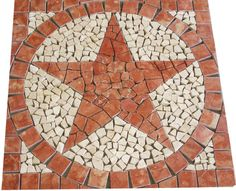 "24"" SQ ROJO RED MARBLE TEXAS STAR MOSAIC TILE MEDALLION FLOOR BACKSPLASH DESIGN #JDyerHandcrafted Dal Tile, Texas Star, Mosaic Designs, Mosaic Tiles, Home Depot, Natural Stones, Marble, Flooring, Stars"