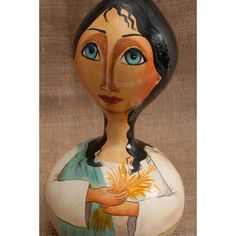 Dry painted gourd folk art womanwhitebluehome by MariasPaint