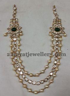 Jewellery Designs: Pearls and Polki Triple Step Set