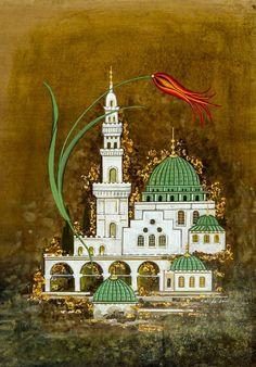 Cahide Keskiner atölyesi Arabic Calligraphy Art, Arabic Art, Rajasthani Art, Islamic Paintings, Iranian Art, Islamic Wallpaper, Turkish Art, Oriental, Islamic Art