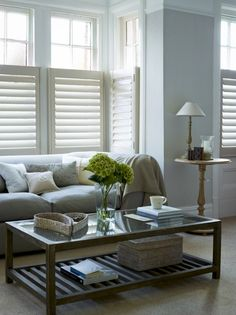 Got a box bay? Cafe style shutters are perfect for creating a streamlined finish. From www.californiashutters.co.uk.