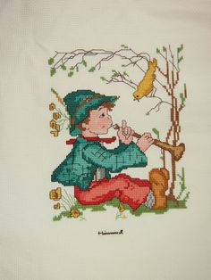 Hummel Completed Vintage 80s Cross Stitch I'll Chime In