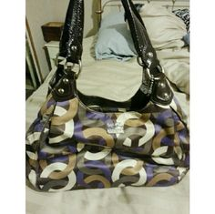 Coach Madison Purple/Brown Shoulder Bag Authentic Coach Bag In Used Condition. Chain Link Op Art Scarf Print. Excellent Condition. Coach Bags Hobos