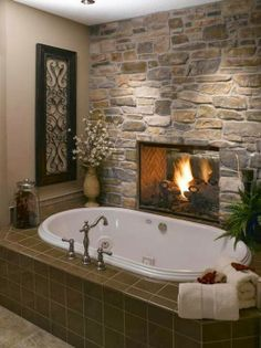 Install a two-sided fireplace between the bathroom and the bedroom. Who needs heated tiles when you have a bathroom fireplace? Dream Bathrooms, Beautiful Bathrooms, Master Bathrooms, Luxury Bathrooms, Master Baths, Master Tub, Romantic Bathrooms, Marble Bathrooms, Cosy Bedroom Warm