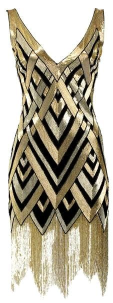 I love the geometric pattern on this 1920s dress. Very Art Deco. If it weren't for the fringed skirt it'd make an awesome modern cocktail dress for a fancy party.⚜Buffy VS⚜