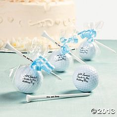 Golf Ball Favors  Maybe since he proposed during Mini Golf you can have fun with an idea like this? ? ?