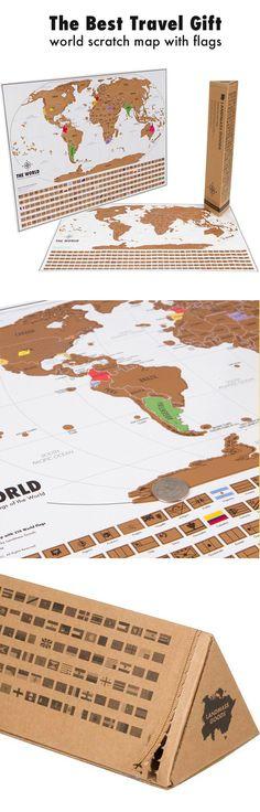 http://landmassgoods.com/products/world-scratch-map  Travel gift for travel lovers. World Scratch Map