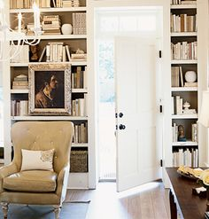 Floor-to-ceiling bookcases add a sense of history and accentuate the room's 10-foot ceilings.