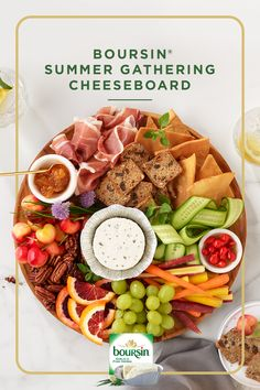 Wow your friends with the perfect summer spread with our Boursin® Summer Gathering Cheeseboard. Perfected with Boursin® Garlic & Fine Herbs cheese, this cheeseboard features an assortment of blood oranges, cucumber ribbons and many other delicious tastes of summer. Appetizer Dips, Appetizers For Party, Appetizer Recipes, Low Calorie Recipes, Healthy Recipes, Orange Sanguine, Party Food Platters, Charcuterie And Cheese Board, Recipes