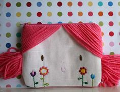 Doll face pink yarn hair zipper pouch