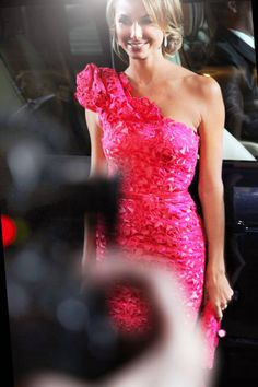 Stacy Keibler is pretty in pink at Marchesa