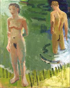 """David Park, Nudes by a River, 1954 oil on canvas, 60"""" x 48"""""""