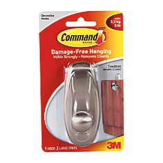 3M Command Damage Free Hook Timeless Large Brushed Nickel by Office Depot