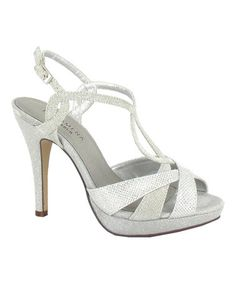 This Silver Glitter Peep-Toe Sandal by Menbur is perfect! #zulilyfinds