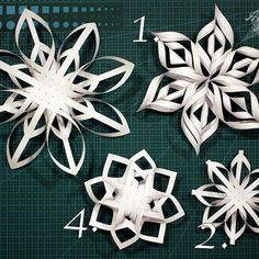Recycled Christmas Decorations, Easy Christmas Crafts, Paper Decorations, Christmas Fun, 3d Paper Snowflakes, Christmas Snowflakes, Paper Ornaments, Diy Christmas Ornaments, Origami Paper Art