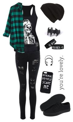 """You're lovely"" by cora-mccutcheon ❤ liked on Polyvore featuring Madewell, Vans, Phase 3, Pieces, emo and lovely"