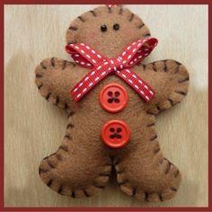 Cute Felt Gingerbread Man Door Hanger - Red Ribbon £4.00