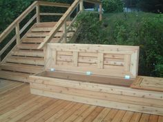 """I would love to build some storage benches similar to this style for our deck. Simple construction and """"no-slam"""" hinges for finger safety! Great storage for seating pads, kids toys, etc."""