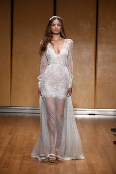Mini Heart-neckline Dress embellished with Beaded Polkadots layered over Sheer Lace |Fashion Friday: Inbal Dror Bridal Fall 2017 | http://brideandbreakfast.ph/2017/01/06/inbal-dror-bridal-fall-2017/