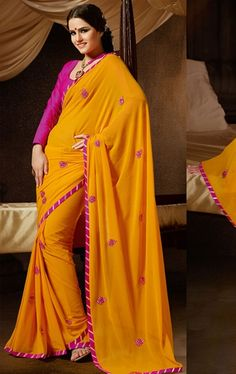 Picture of Appealing Orange Color Indian Wedding Saree Online
