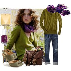 """""""J.Crew Fall Inspiration"""" by handbagaficionado on Polyvore - Green, """"2013's Color of the Year,"""" looks great with plum for the fall season."""