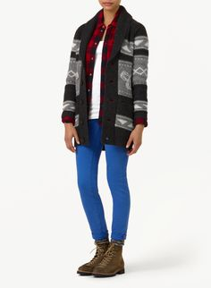 This cozy lambswool cardigan features custom-designed intarsia artwork inspired by traditional knit patterns from the Northwest Coast. It has a folded shawl collar and is designed with an extra-long shape for easy layering. Knit Patterns, North West, Custom Design, Knitting, Sweaters, Shirts, Clothes, Fashion, Moda
